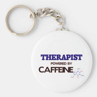 Terapeuta accionado por el cafeína llavero redondo tipo pin