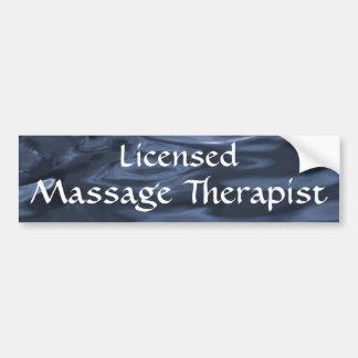 Terapeuta autorizado 2 (azul) del masaje pegatina para auto