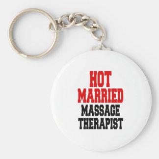 Terapeuta casado caliente del masaje llavero redondo tipo pin