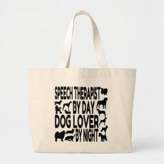 Terapeuta de discurso del amante del perro bolsa tela grande