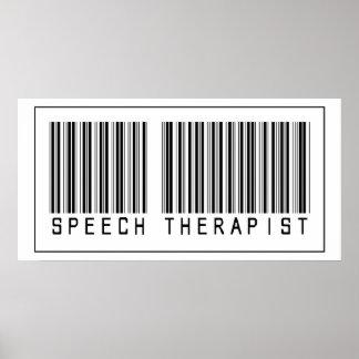 Terapeuta de discurso del código de barras póster