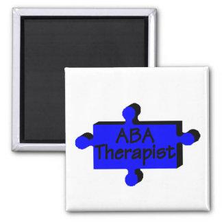 Terapeuta del ABA (azul P) Imán Cuadrado