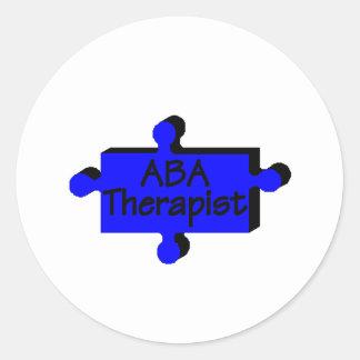 Terapeuta del ABA (azul P) Etiqueta Redonda