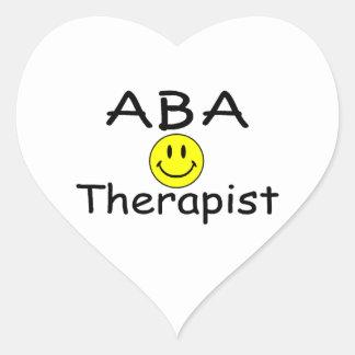 Terapeuta del ABA (smiley) Pegatina En Forma De Corazón