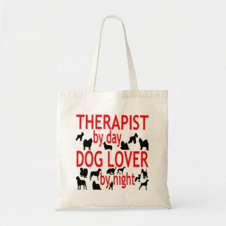 Terapeuta del amante del perro en rojo bolsas lienzo