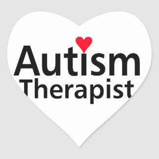 Terapeuta del autismo con el corazón rojo pegatina en forma de corazón