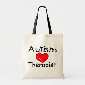Terapeuta del autismo (corazón) bolsa de mano