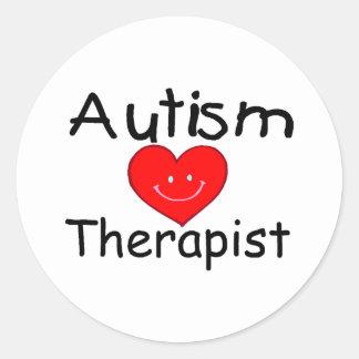 Terapeuta del autismo (Hrt sonriente) Pegatina Redonda
