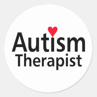 Terapeuta del autismo pegatina redonda