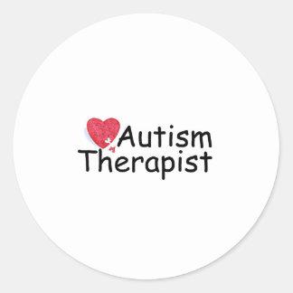 Terapeuta del autismo (rompecabezas de Hrt) Pegatina Redonda