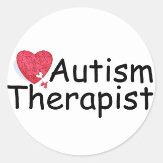 Terapeuta del autismo (rompecabezas Hrt) Pegatina Redonda