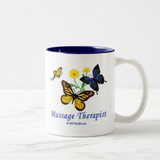 Terapeuta del masaje de la mariposa tazas de café
