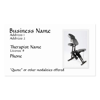 Terapeuta del masaje de la silla tarjetas de visita