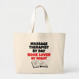 Terapeuta del masaje del aficionado a los libros bolsa tela grande