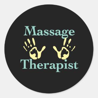 Terapeuta del masaje Impresiones amarillas de la Pegatina