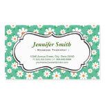Terapeuta del masaje - margarita verde elegante tarjetas de visita
