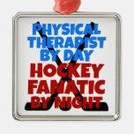 Terapeuta físico del amante del hockey ornamentos de navidad