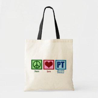 Terapeuta físico del amor de la paz bolsa tela barata
