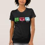 Terapeuta físico del amor de la paz camisetas