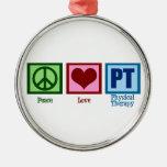 Terapeuta físico del amor de la paz ornamento para arbol de navidad
