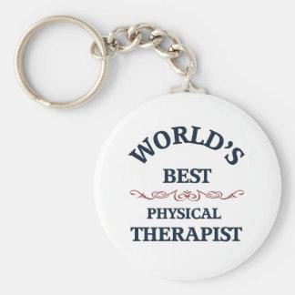 Terapeuta físico del golpe del mundo llavero redondo tipo pin