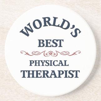 Terapeuta físico del golpe del mundo posavasos manualidades