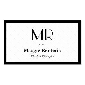 Terapeuta físico - monograma elegante limpio tarjetas de visita