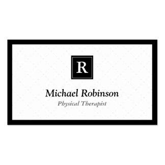 Terapeuta físico - monograma elegante simple tarjetas de visita