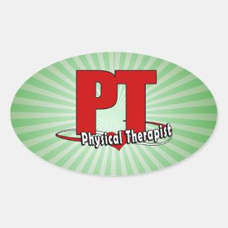 Terapeuta físico ROJO GRANDE    del LOGOTIPO de la Colcomanias De Oval