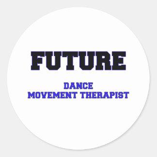 Terapeuta futuro del movimiento de la danza etiqueta redonda