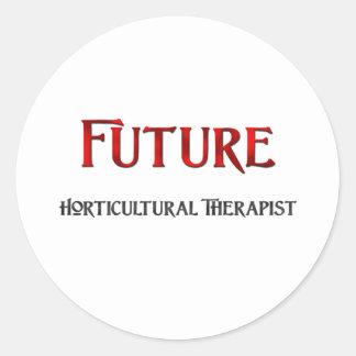 Terapeuta hortícola futuro etiqueta redonda