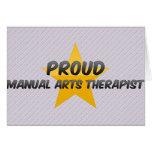 Terapeuta manual orgulloso de los artes felicitacion