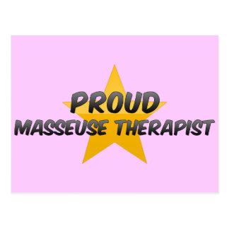 Terapeuta orgulloso de la masajista tarjetas postales