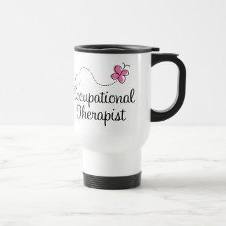 Terapeuta profesional de la mariposa rosada linda taza de viaje de acero inoxidable