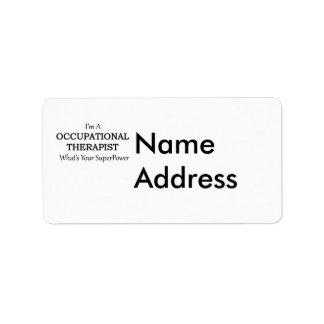 Terapeuta profesional etiqueta de dirección