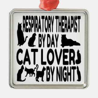 Terapeuta respiratorio del amante del gato adorno navideño cuadrado de metal
