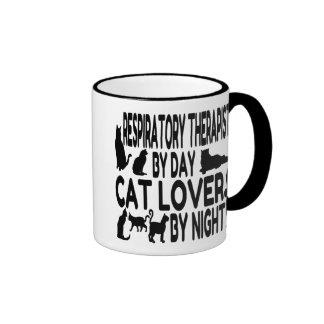 Terapeuta respiratorio del amante del gato taza de dos colores