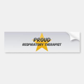 Terapeuta respiratorio orgulloso pegatina de parachoque