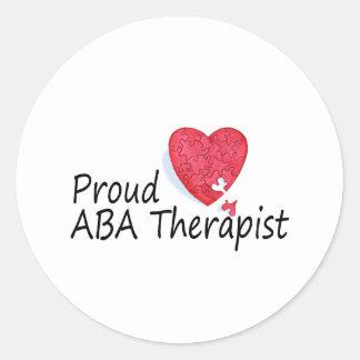 Terapeutas orgullosos del ABA (corazón) Pegatina Redonda