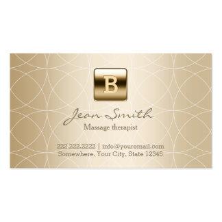 Terapia de lujo del masaje del monograma del oro tarjetas de visita