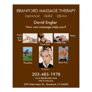 Terapia del masaje de Branford - experimentada - e Póster