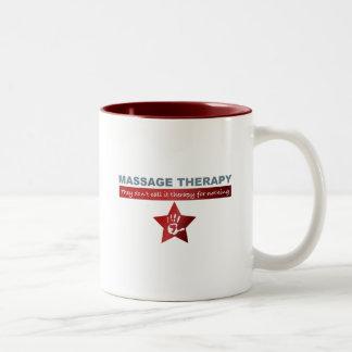 Terapia del masaje en rojo de rubíes tazas de café