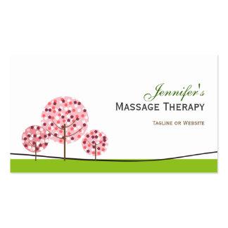 Terapia del masaje - logotipo rosado lindo del tarjetas de visita