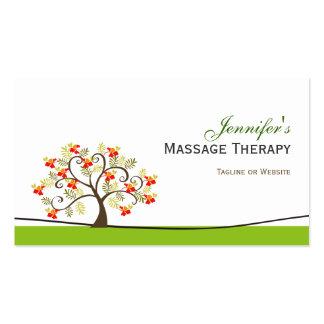 Terapia del masaje - símbolo elegante del árbol de plantillas de tarjetas personales