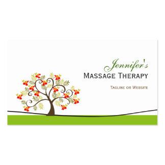 Terapia del masaje - símbolo elegante del árbol tarjetas de visita