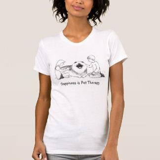 Terapia del mascota del Keeshond con el texto adap Camisetas