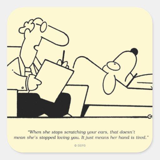 Terapia del perro pegatina cuadrada