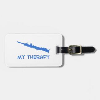 Terapia del saxofón del soprano etiqueta de equipaje