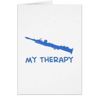 Terapia del saxofón del soprano tarjeta de felicitación