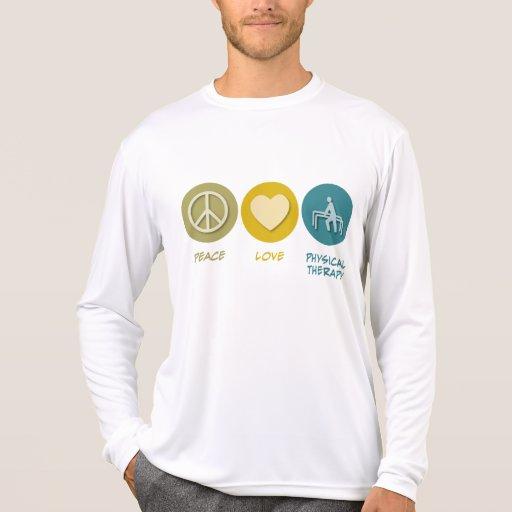 Terapia física del amor de la paz camisetas
